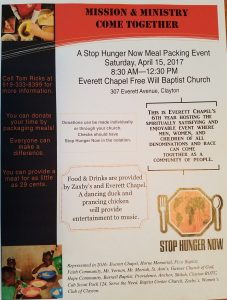 Rise Against Hunger Meal Packaging Event 2017 @ Everett Chapel Baptist Church | Clayton | North Carolina | United States