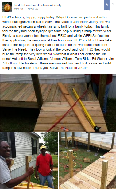 "Shout out to STNinJC & our ""Ramps & Repairs"" team on First in Families Johnston County Facebook!!"