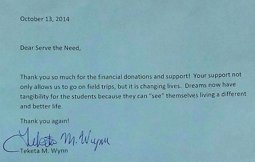 sms thank you letter from teacher | Serve The Need In Johnston County