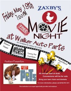 Zaxby's Movie Night in Selma, NC @ Walkers Auto Parts | Selma | North Carolina | United States