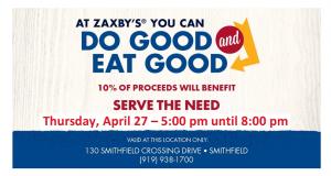 Zaxby's Community Spirit Night for Serve The Need in Johnston County @ Zaxby's Restaurant in Smithfield   Smithfield   North Carolina   United States